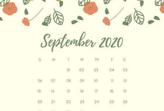 September 2020 Calendar Cute Free Desktop Wallpaper
