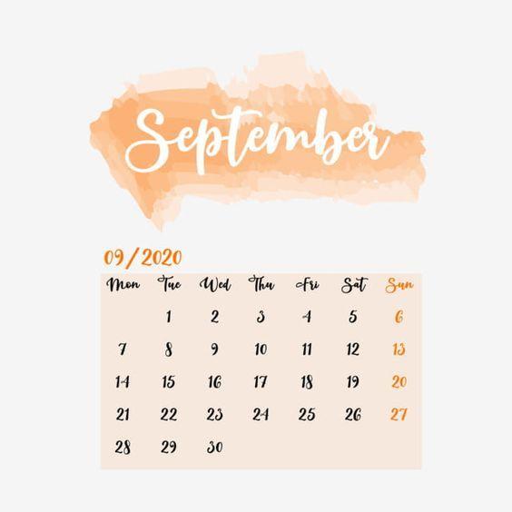 September 2020 Calendar Cute Free Orange