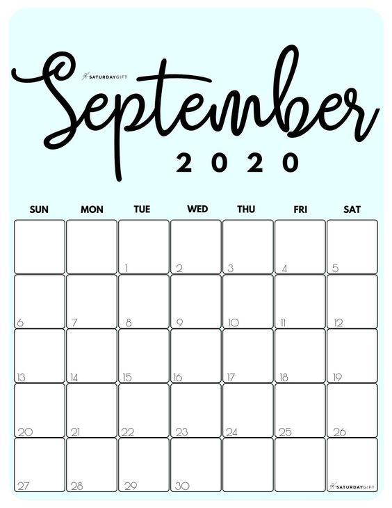 September 2020 Calendar Cute Free Prety Calendar