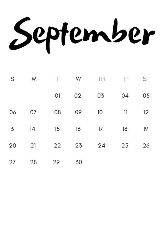 September 2020 Calendar Cute Free Simple