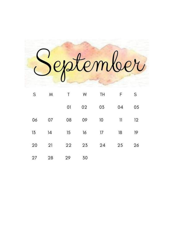 September 2020 Calendar Cute Free Watercolor