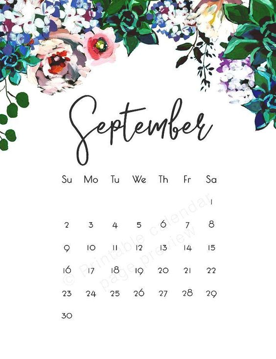 September 2020 Calendar Wallpaper Iphone Floral