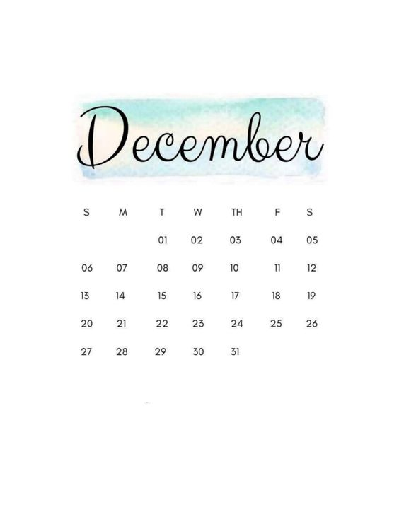 Watercolor December 2020 Calendar Inspiration Design Wallpaper Iphone Android