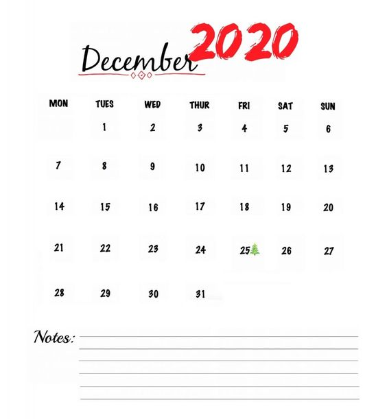 Watercolor December 2020 Calendar Inspiration Design