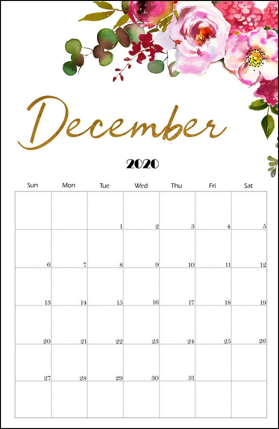 cute december 2020 calendar vertical