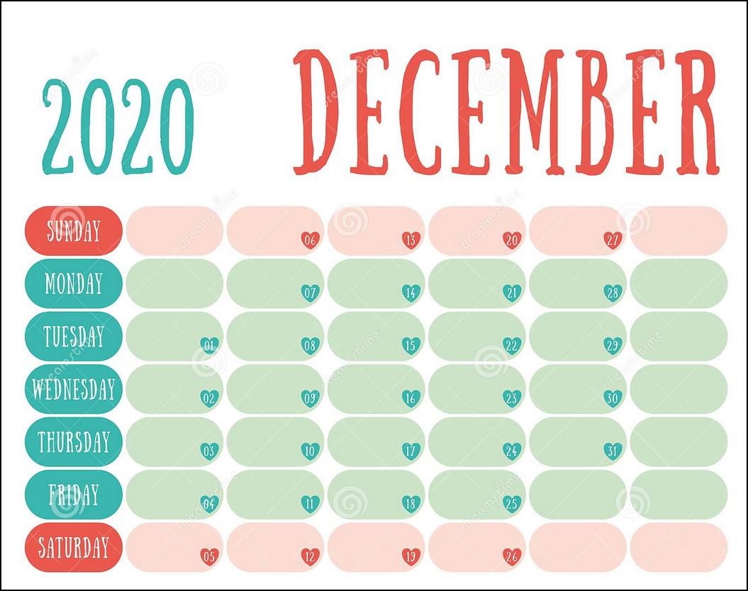 cute design calendar december 2020