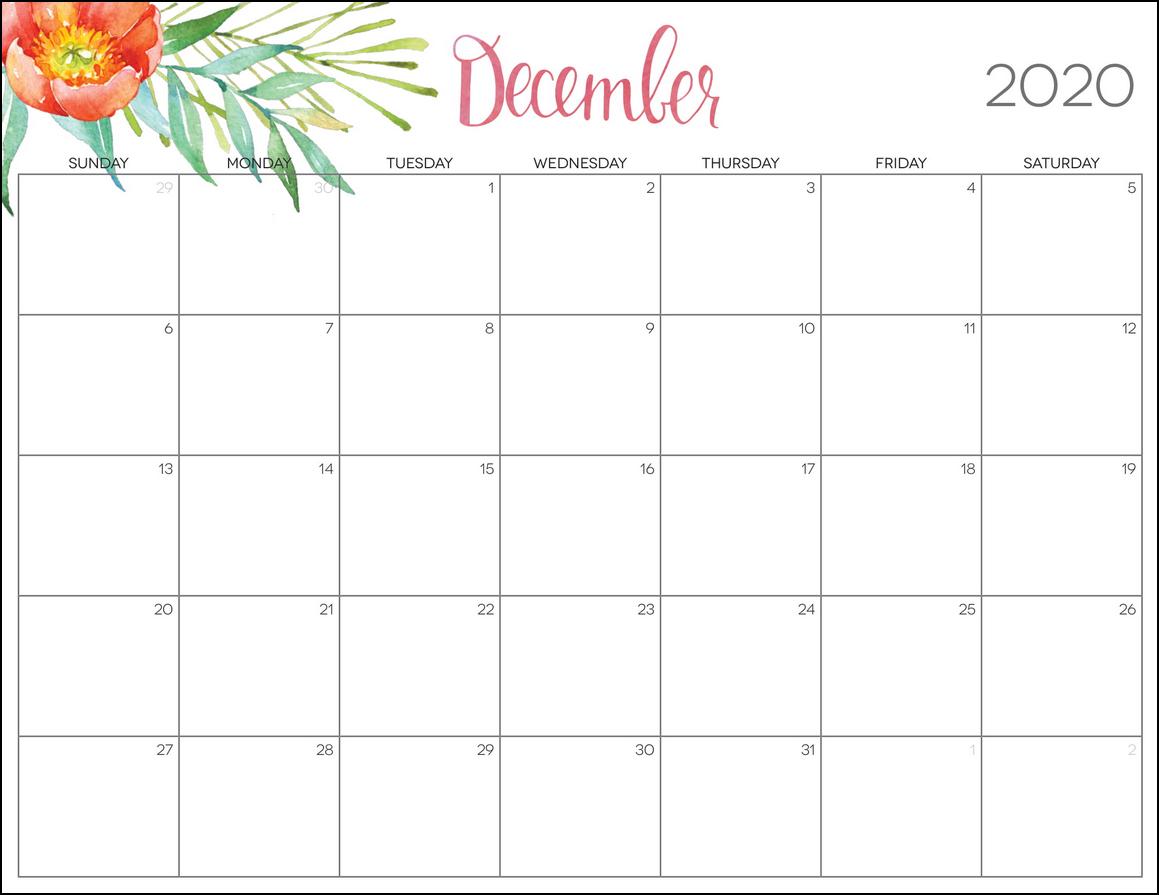 cute floral december 2020 calendar printable