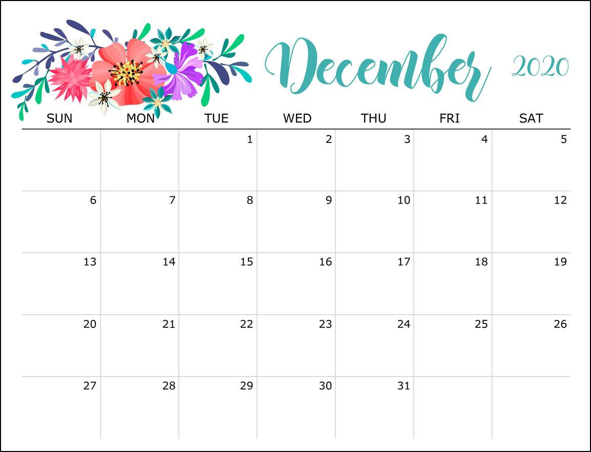 cute flower december calendar 2020