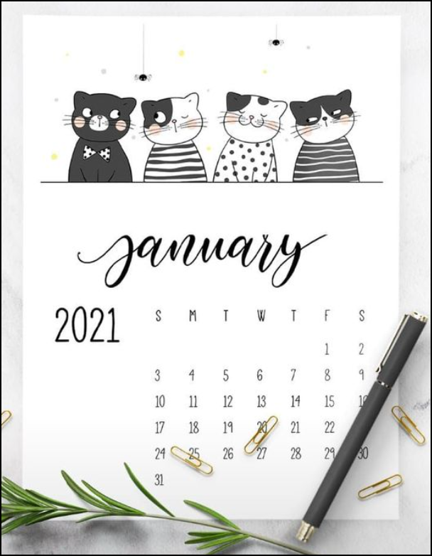 4 Cute Cat January 2021 Calendar Printable