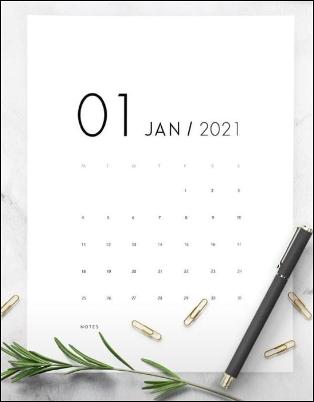 Calendar January 2021 Elegant Sample