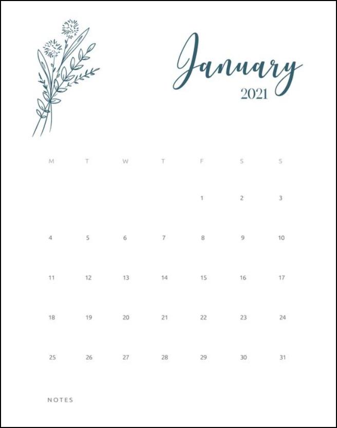 Calendar January 2021 Floral White