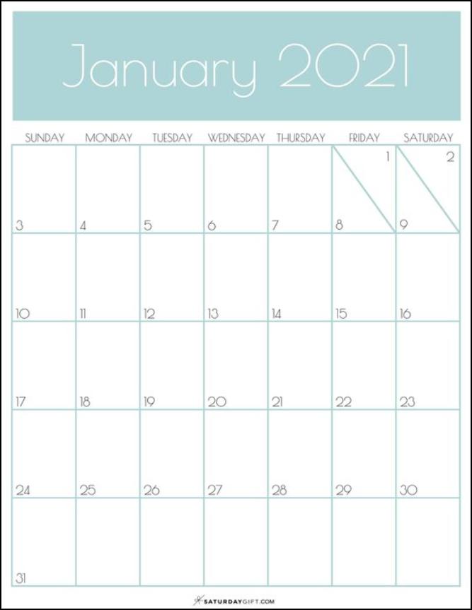 Calendar January 2021 Printable Simple Blue