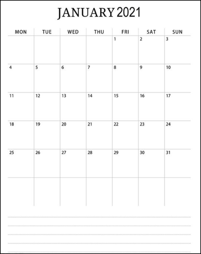 Calendar January 2021 With Note Simple White