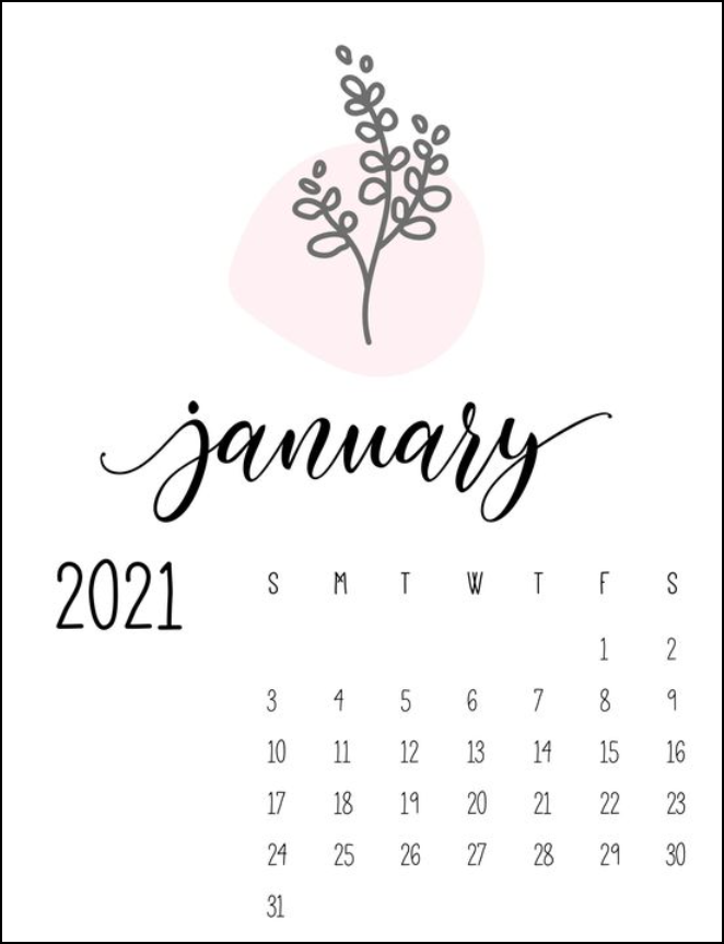 Cute Botanical January Calendar 2021 Ideas