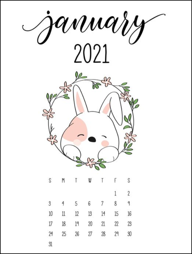 Cute Bunny January Calendar 2021