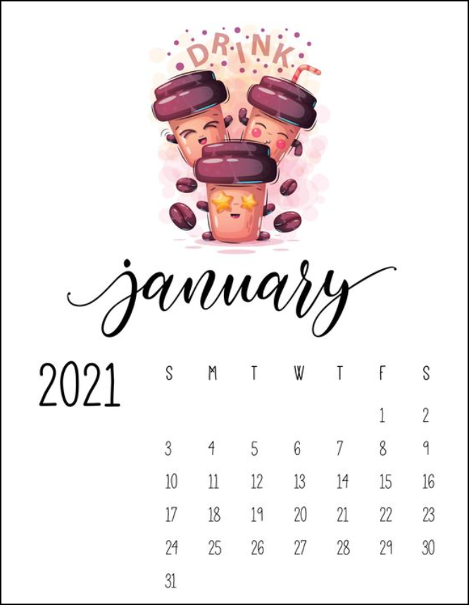 Cute Coffee Cup Januay Calendar 2021