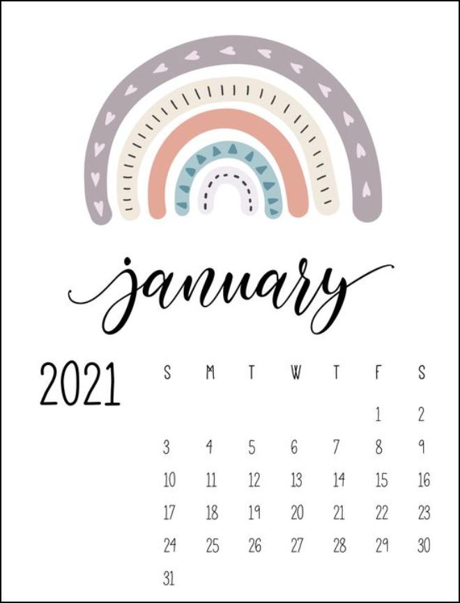 Cute Rainbow Calenda January 2021 Printable