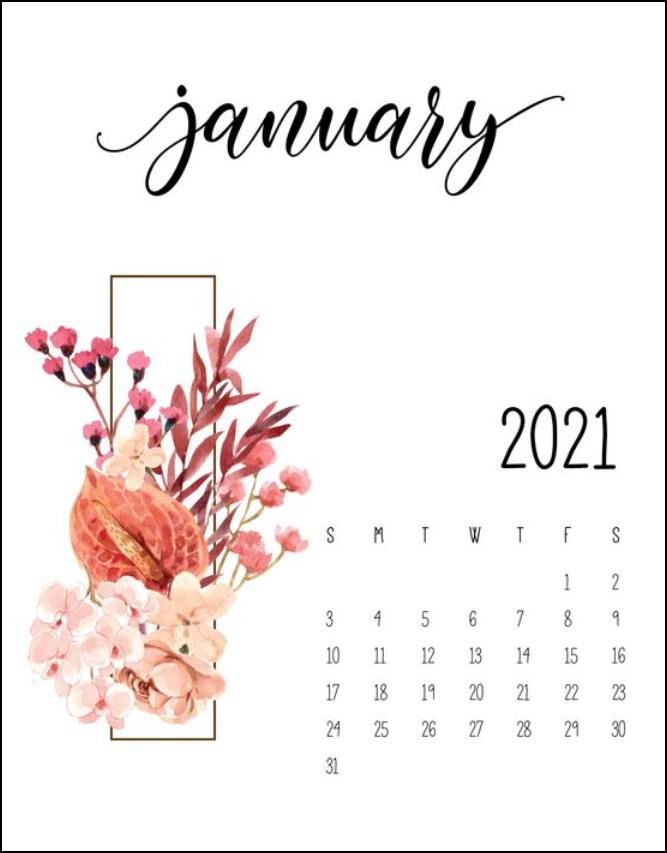 Floral Calendar January 2021