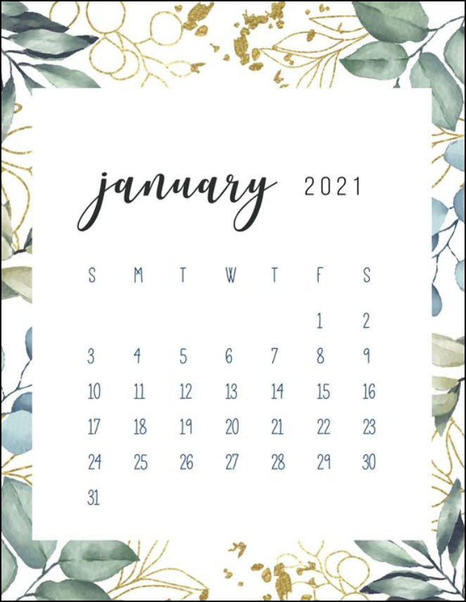 Free January 2021 Calendar Botanical