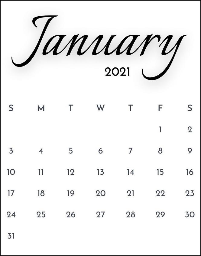 January 2021 Calendar Simpe Minimalist