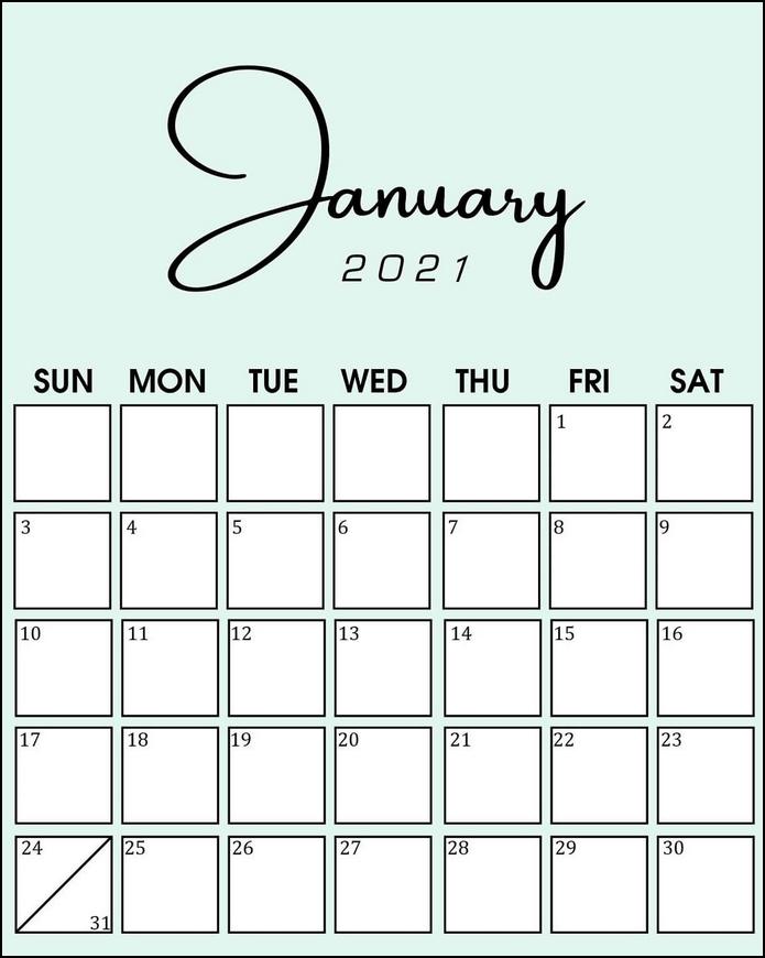 Minimalist Stylist Calendar January 2021 Green Color