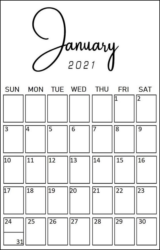 Portrait Minimalist Calendar January 2021