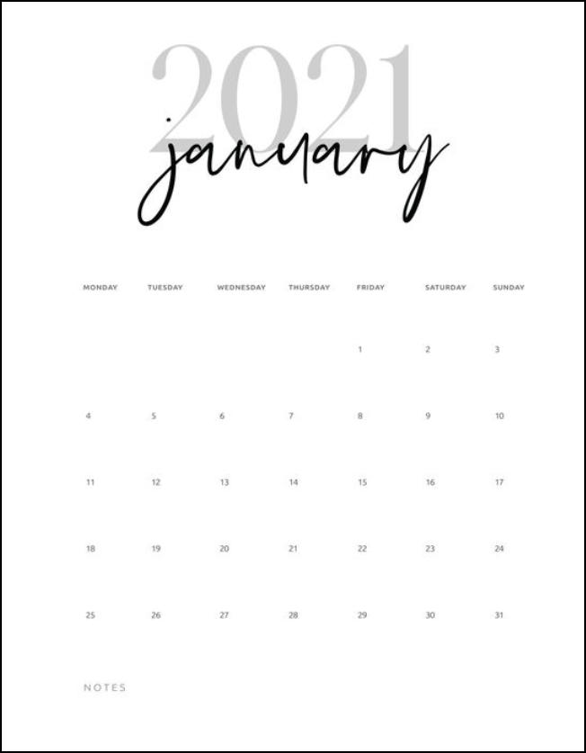 Simple Calendar January 2021 Black and White