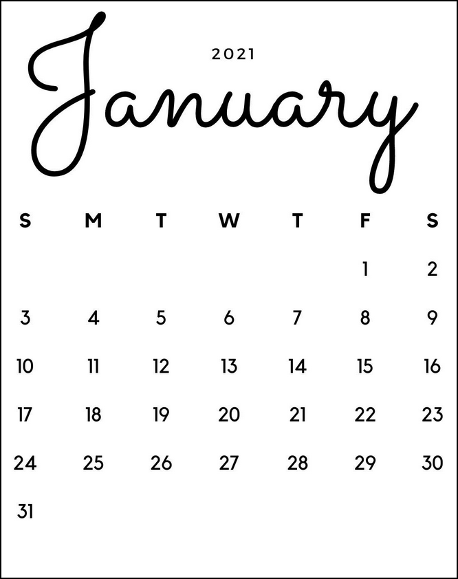 Best Free Minimalist Calendar January 2021
