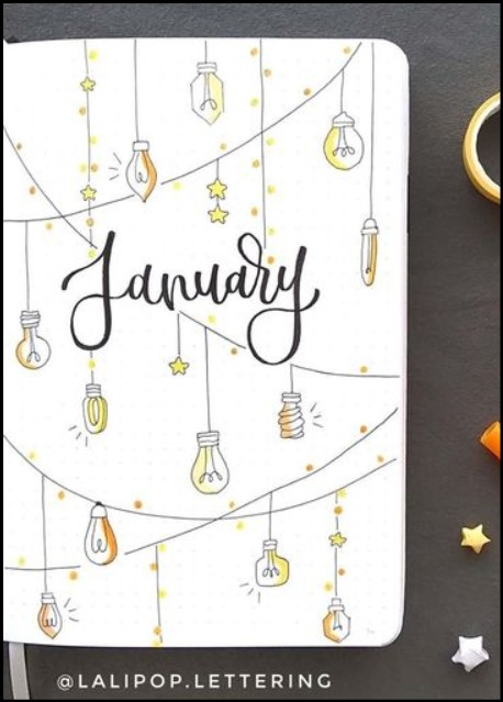 bullet journal cover example ideas with light bulp