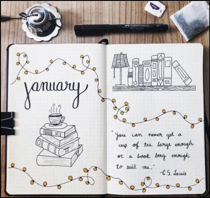 cover bullet journal january bookshelf