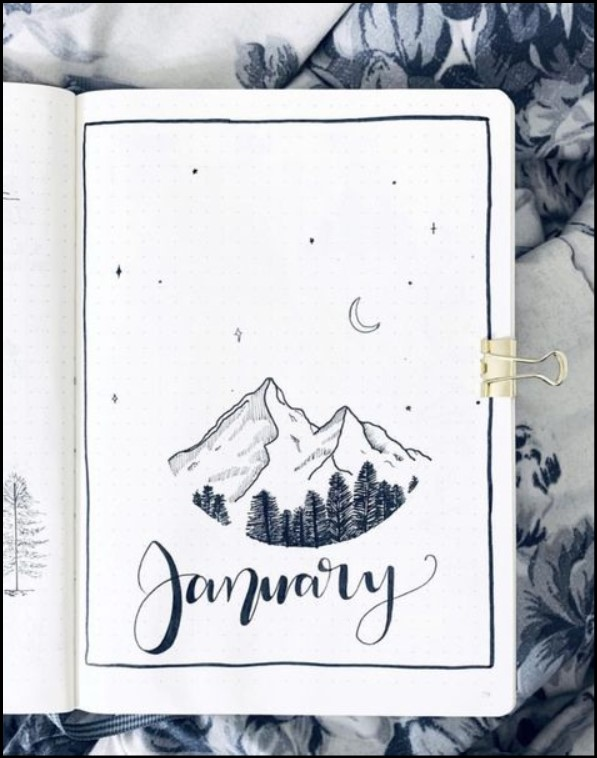 cover bullet journal january snow mountain