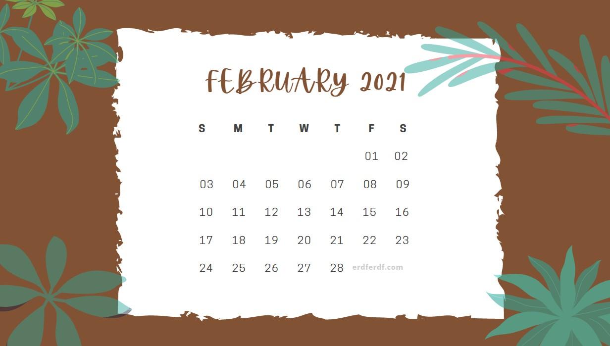 February 2021 Calendar Cute Floral Chocolate