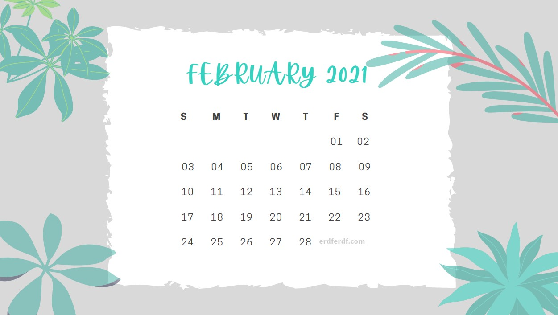 February 2021 Calendar Cute Floral Gray