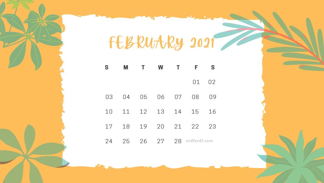 February 2021 Calendar Cute Floral Orange