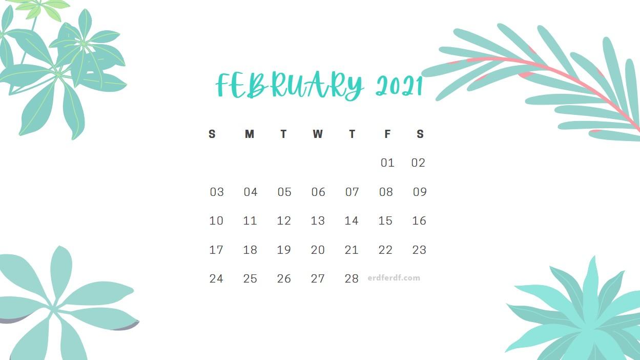 February 2021 Calendar Cute Floral White