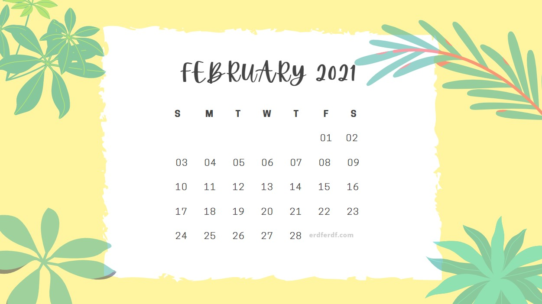 February 2021 Calendar Cute Floral