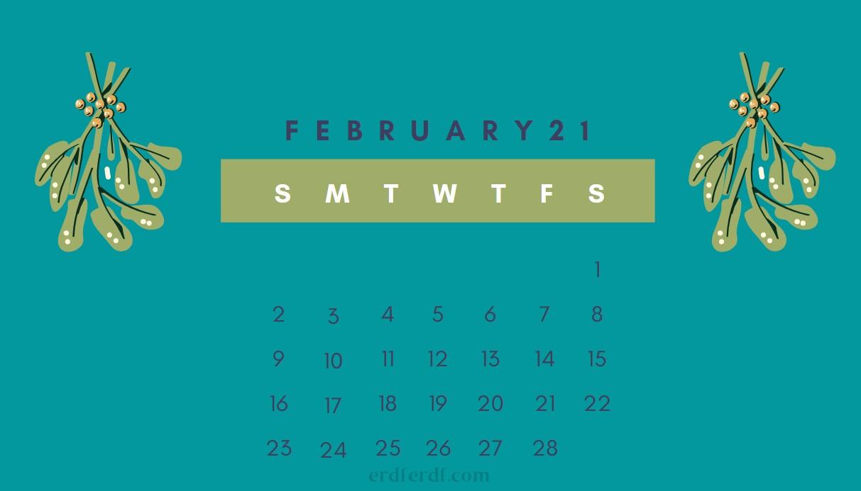 February Cute 2021 Calendar Green