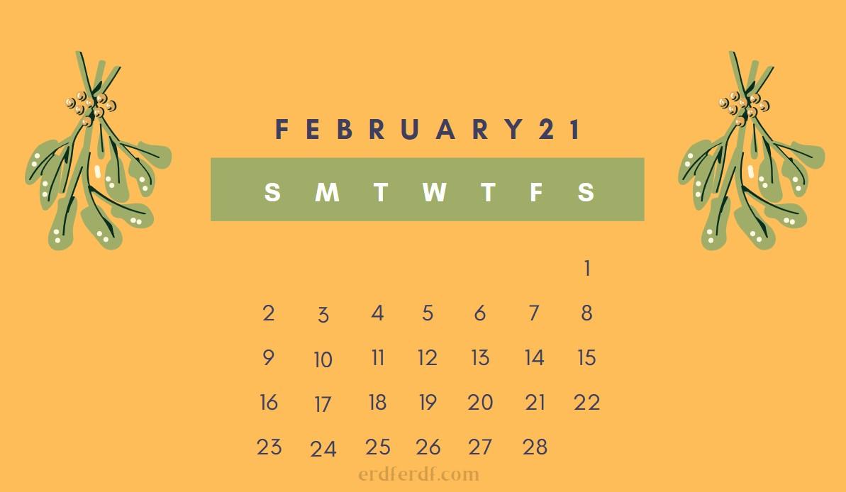 February Cute 2021 Calendar Orange