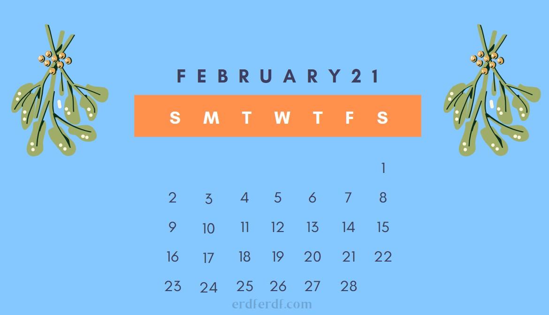 February Cute 2021 Calendar Smooth Blue