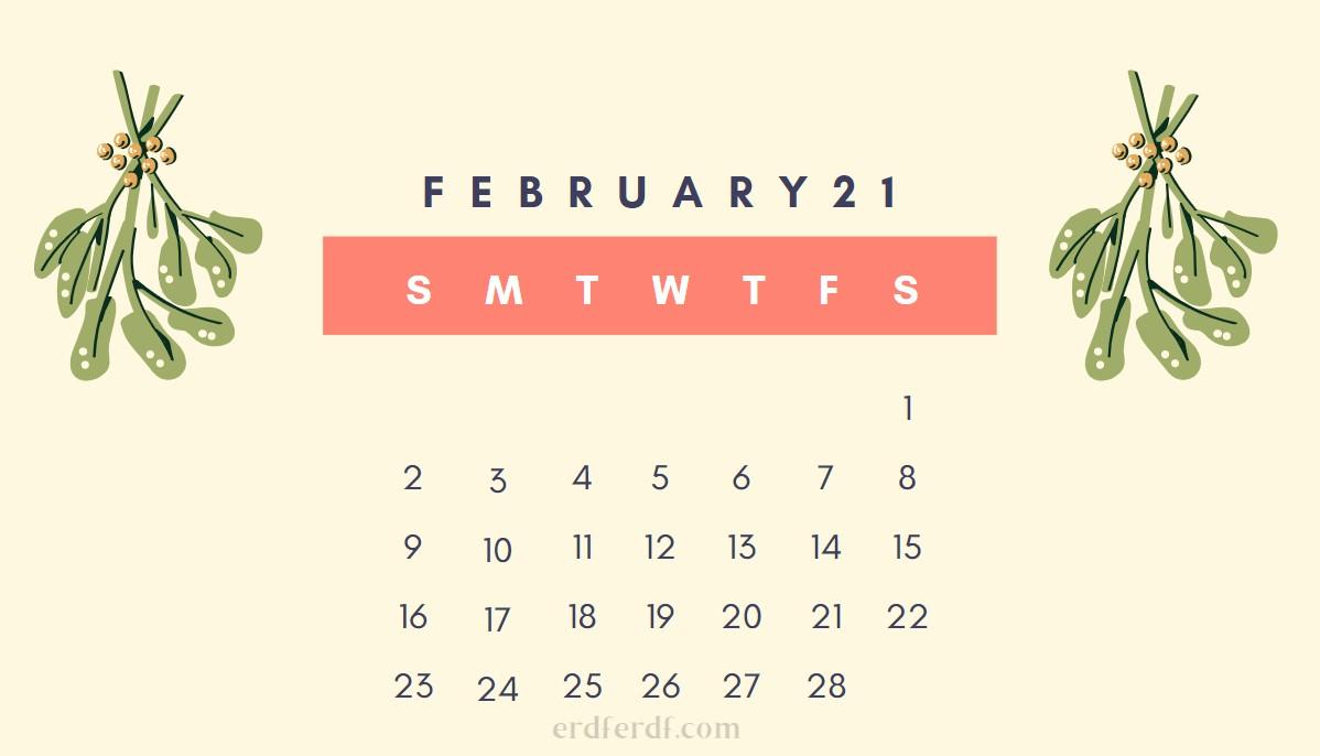 February Cute 2021 Calendar Smooth Yellow