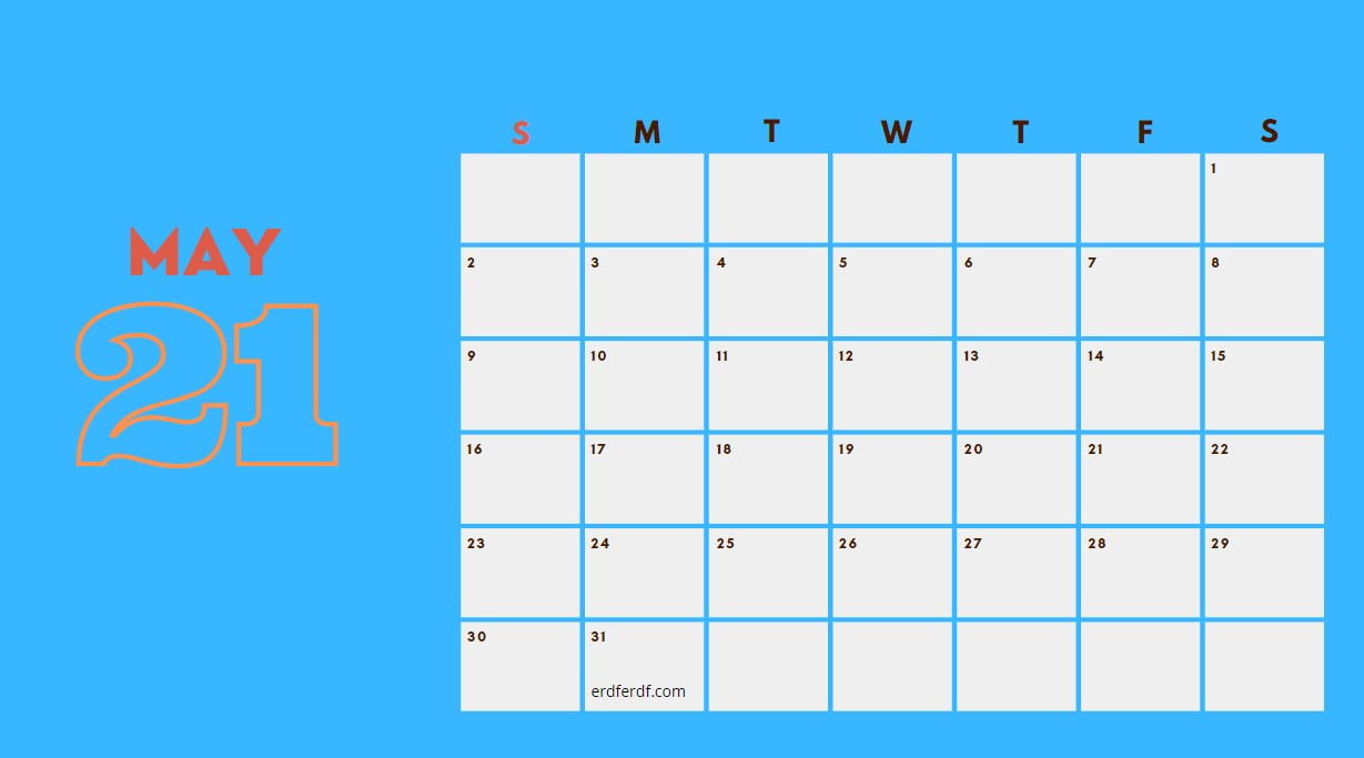 May 2021 Calendar Printable Blank Blue