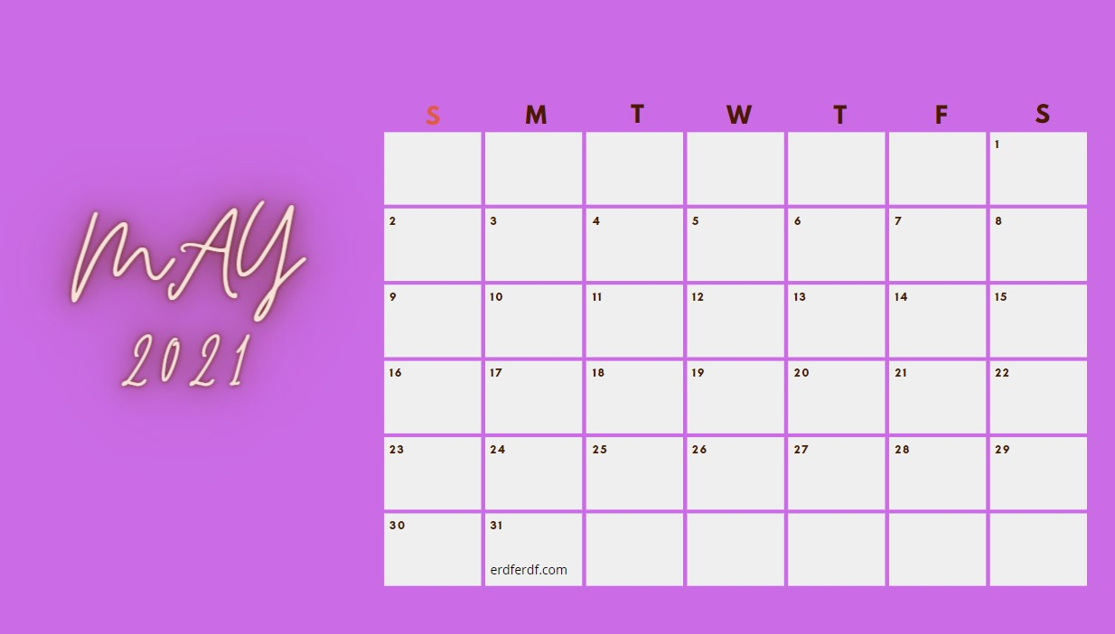 May 2021 Calendar Printable Blank Purple
