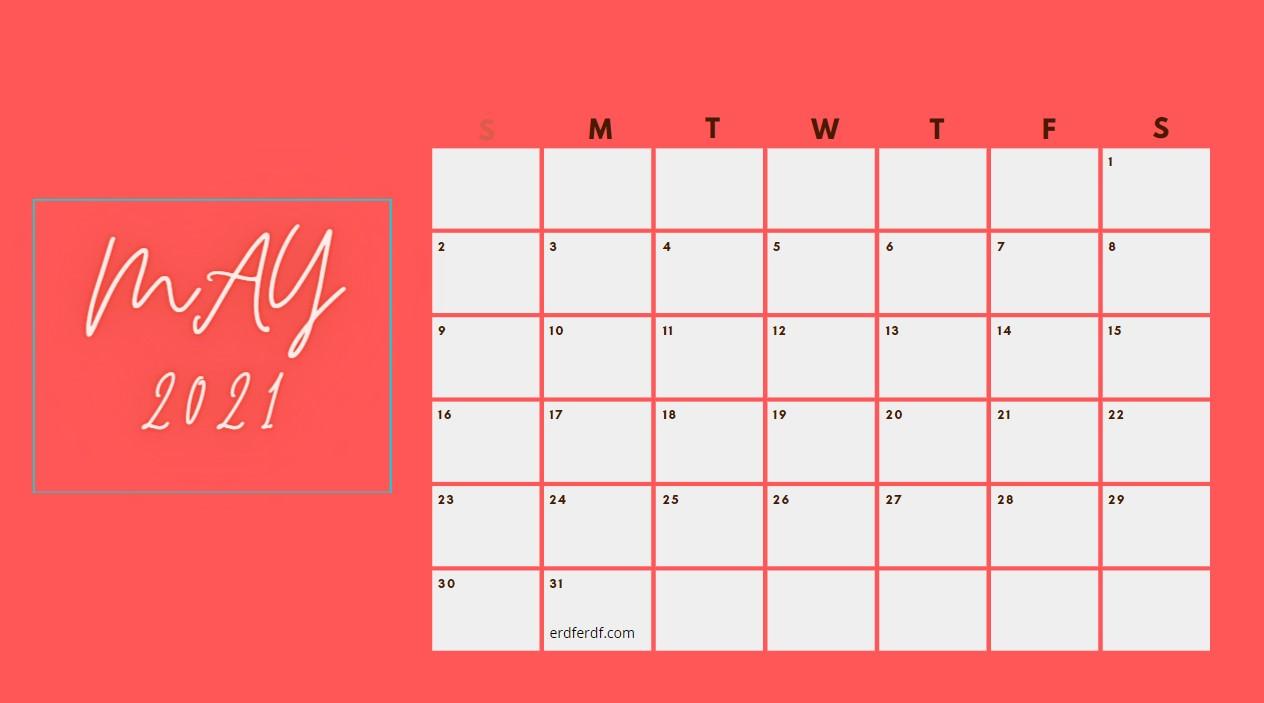 May 2021 Calendar Printable Blank Red