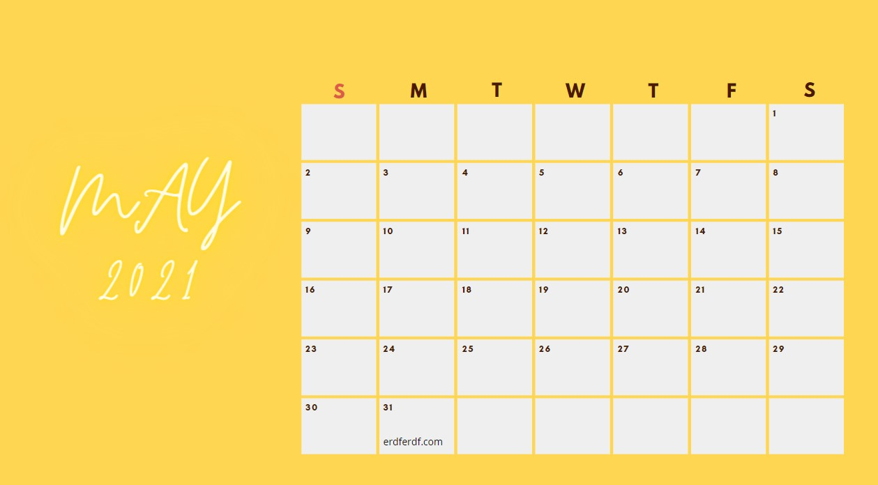 May 2021 Calendar Printable Blank Yellow