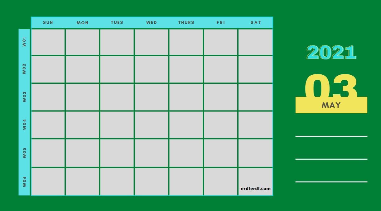 May Weekly 2021 Blank Calendar Printable Example Green