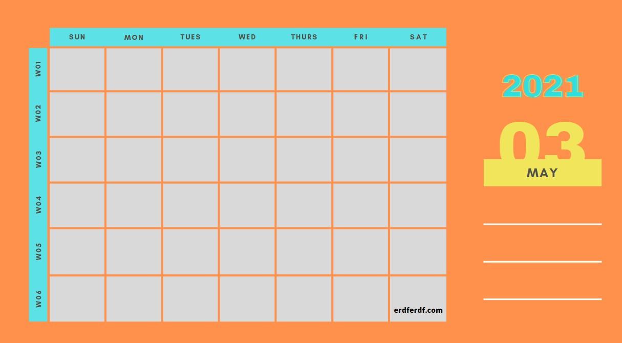May Weekly 2021 Blank Calendar Printable Example Orange