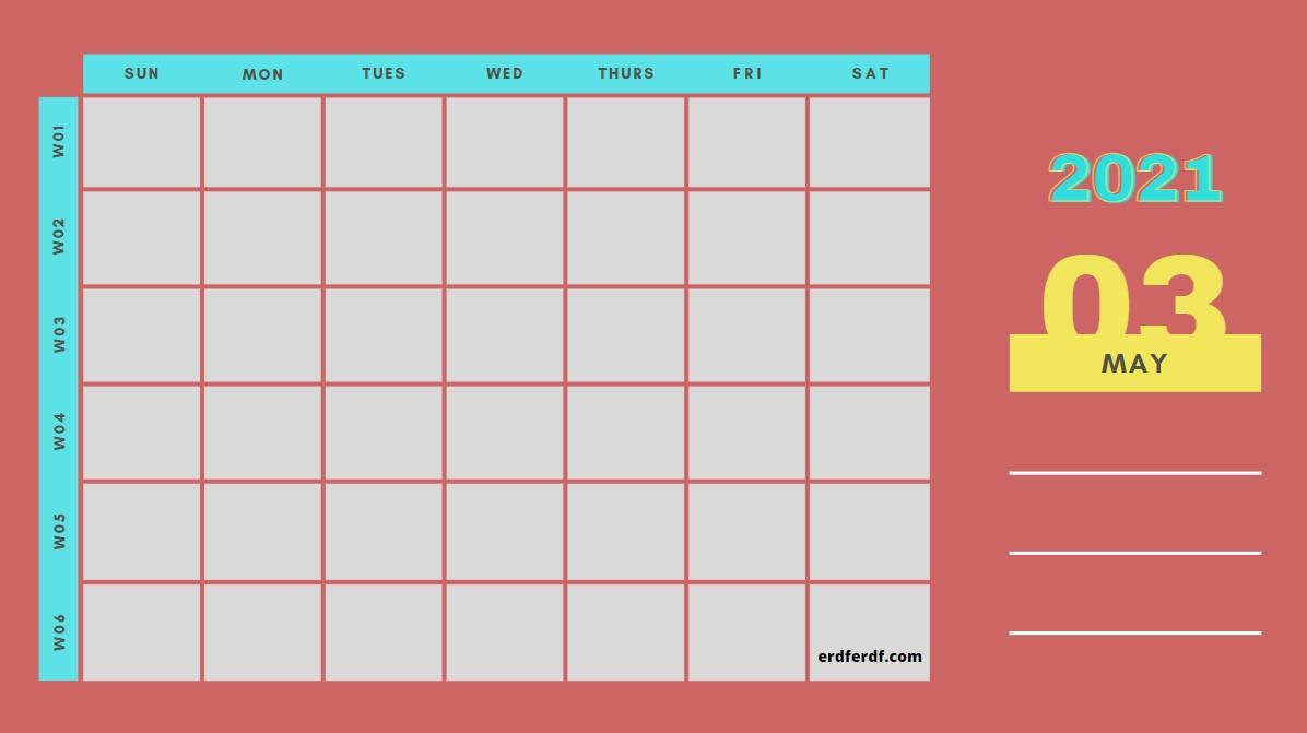 May Weekly 2021 Blank Calendar Printable Example Simple