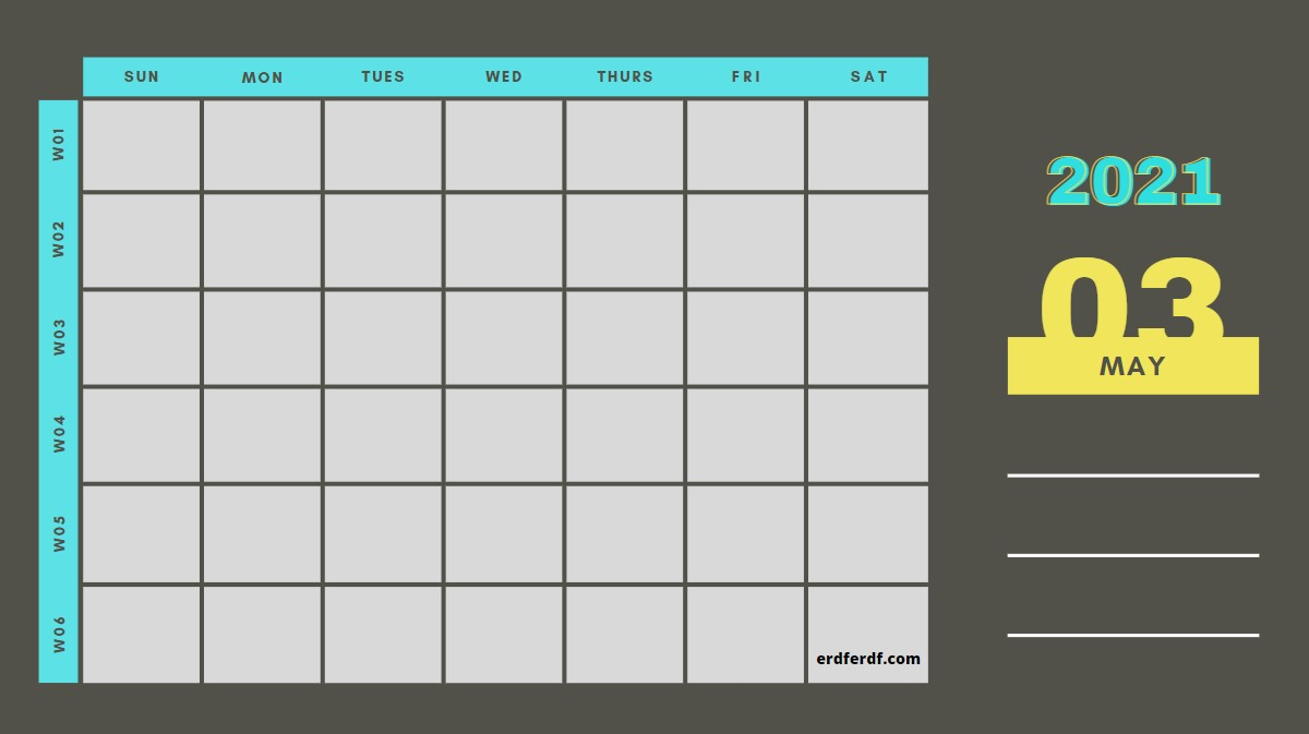 May Weekly 2021 Blank Calendar Printable