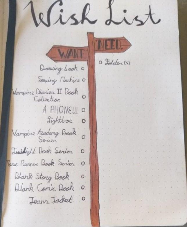 Wishlist bujo ideas free printable
