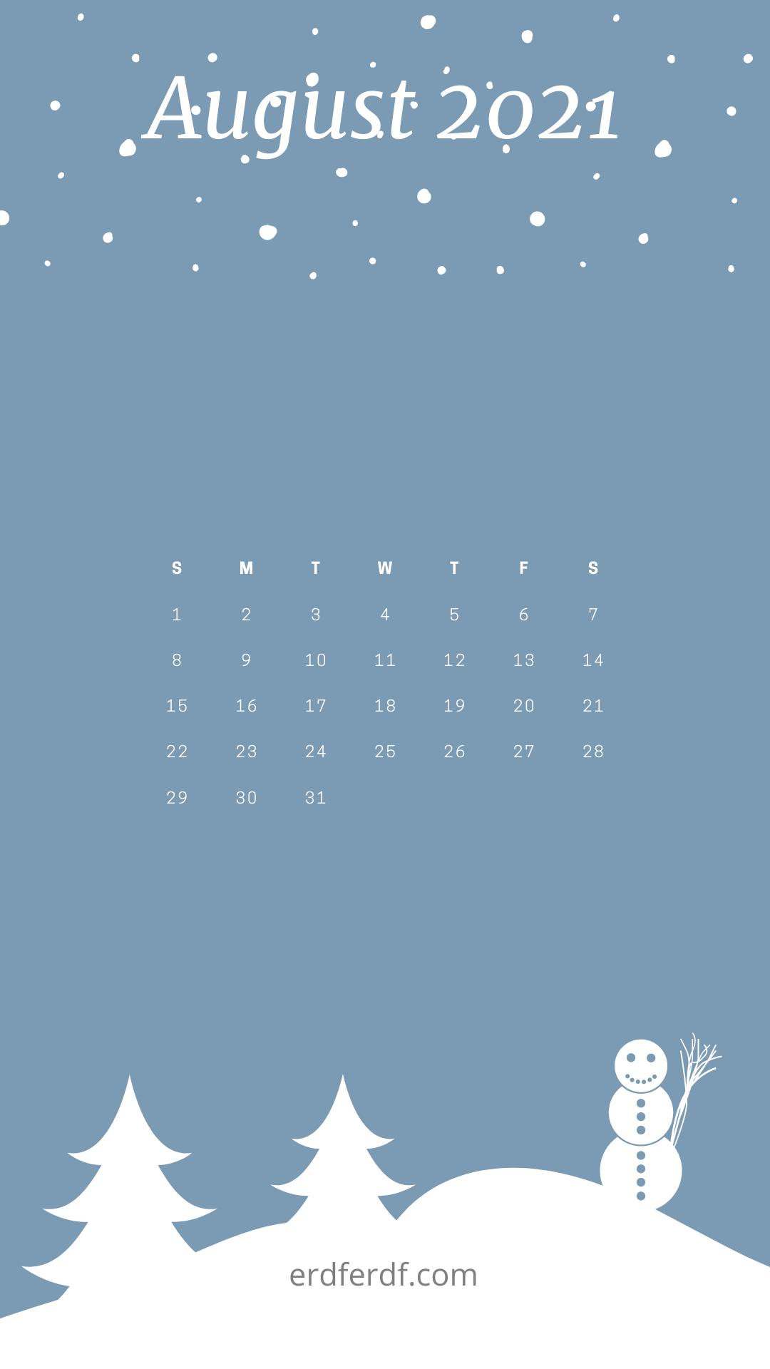 August 2021 Callendar Wallpaper Iphone Cat Cute Blue Snow